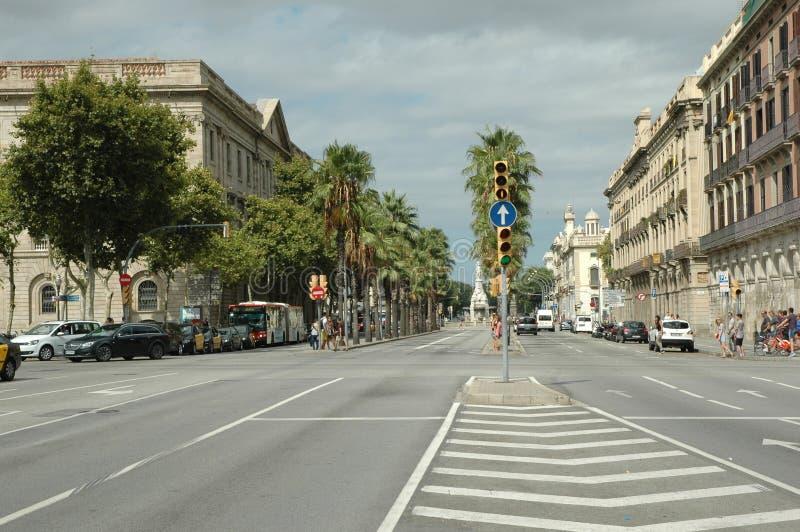 Storgatan i Barcelona arkivbilder