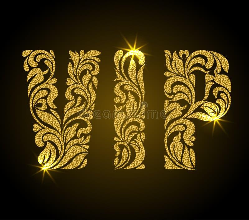 storgubbeinskrift av den blom- dekorativa modellen Bokstäver med guld vektor illustrationer