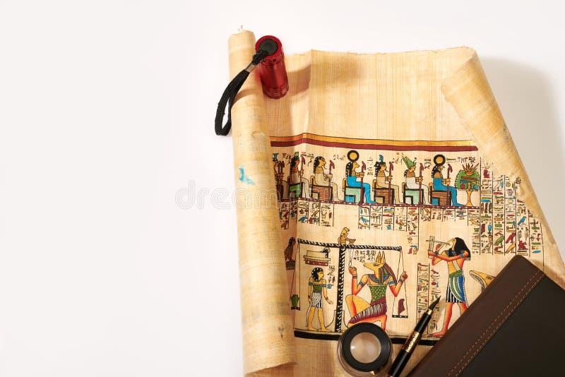 Storia dell'Egitto nei disegni sul papiro fotografia stock libera da diritti