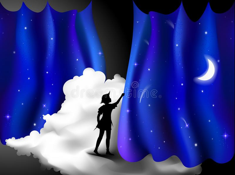 Storia di Peter Pan, ragazzo che sta sulla nuvola dietro la tenda blu di notte, notte leggiadramente, Peter Pan, illustrazione di stock