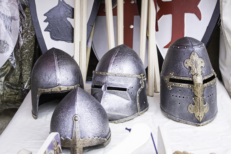 Storia medievale dei caschi fotografie stock libere da diritti