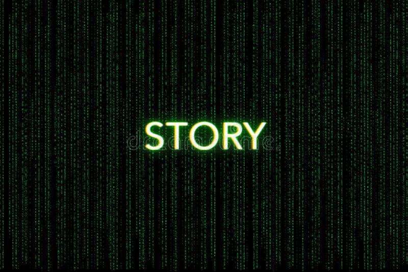 Storia, parola chiave della mischia, su un fondo verde della matrice fotografia stock