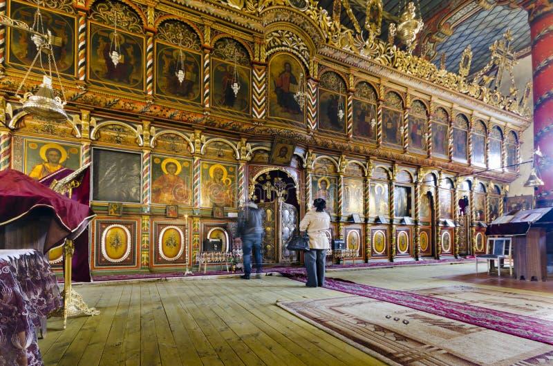 Storico, interno della chiesa ortodossa in Bansko, Bulgaria fotografia stock