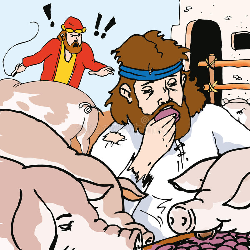 Storie della bibbia - la parabola del figlio perso illustrazione di stock