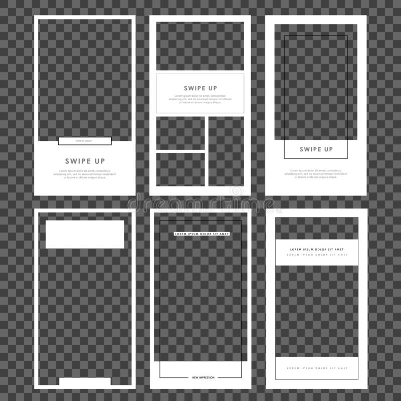 Mockup for photo isolated on transparent background.Stories template. Set photo frame. Streaming. vector illustration