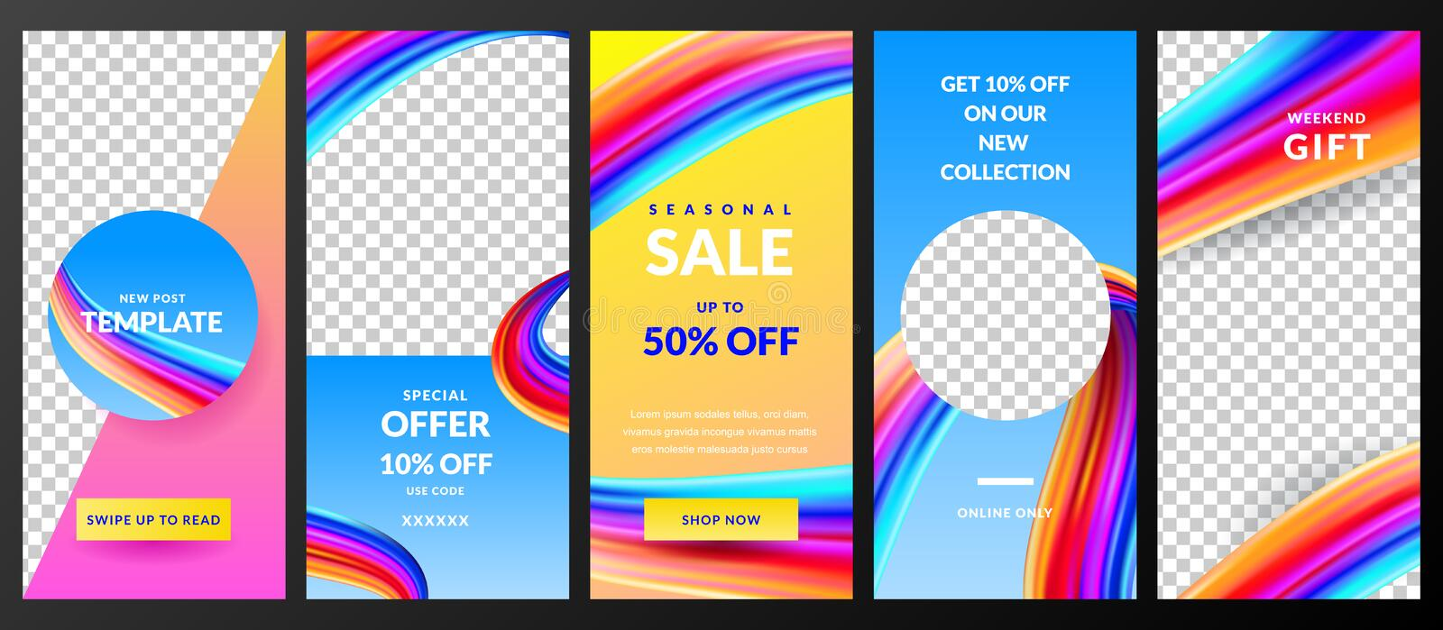 Stories vector template for Instagram social network. Trendy design for fashion sale and special offer flyers. Stories vector template for Instagram social royalty free illustration