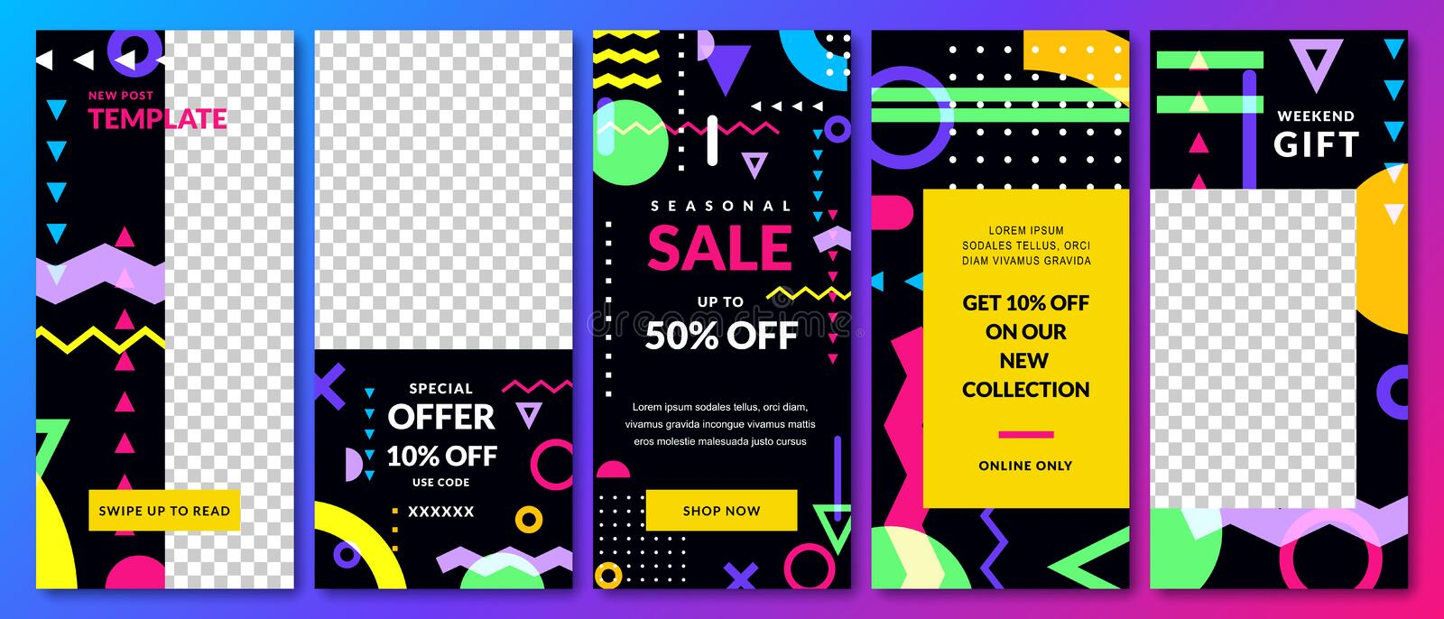 Stories vector template for Instagram social network. Trendy design for fashion sale and special offer flyers royalty free illustration