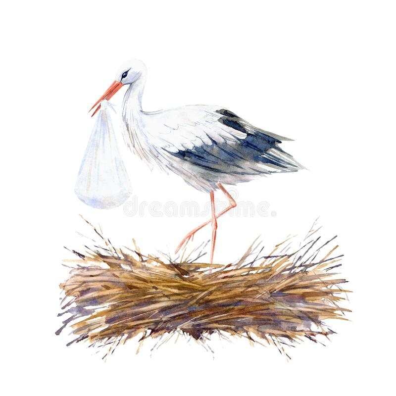 Free Stork And Newborn On The Roof In The Nest. Watercolor Stock Photography - 141532972