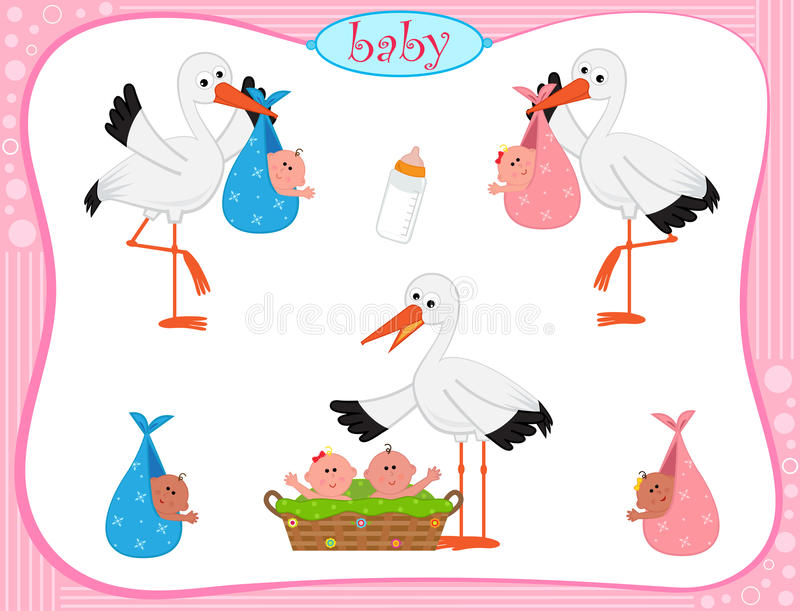 Stork With Babies. Vector set of three storks with different set of babies. Eps10 vector illustration