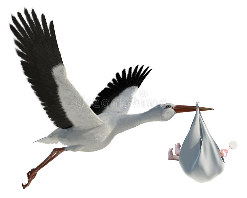 Stork & Baby vector illustration