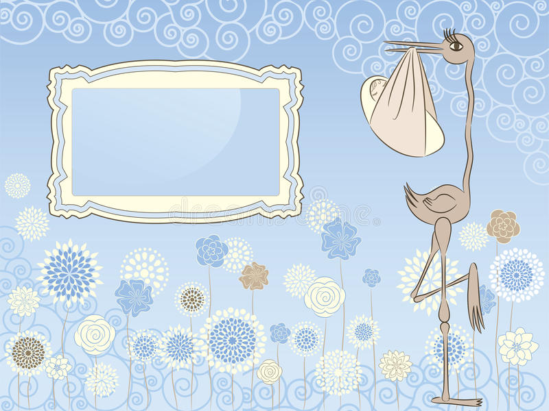 Download Stork with baby stock vector. Image of little, decorative - 19562962