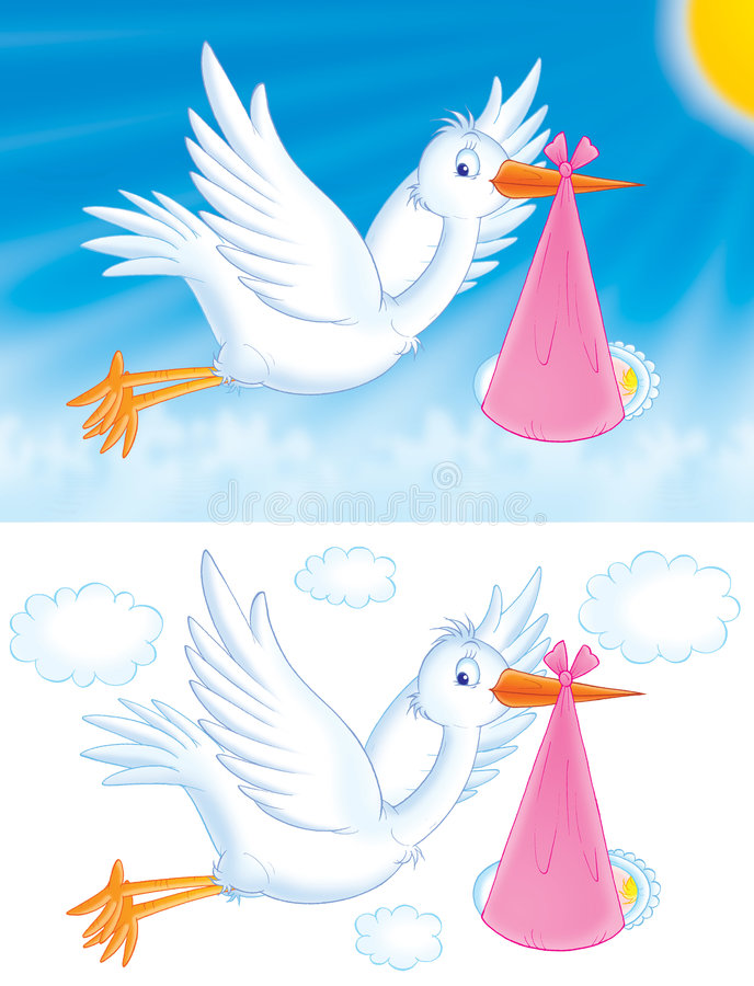 Download Stork with baby stock vector. Image of girl, birthday, daughter - 833879