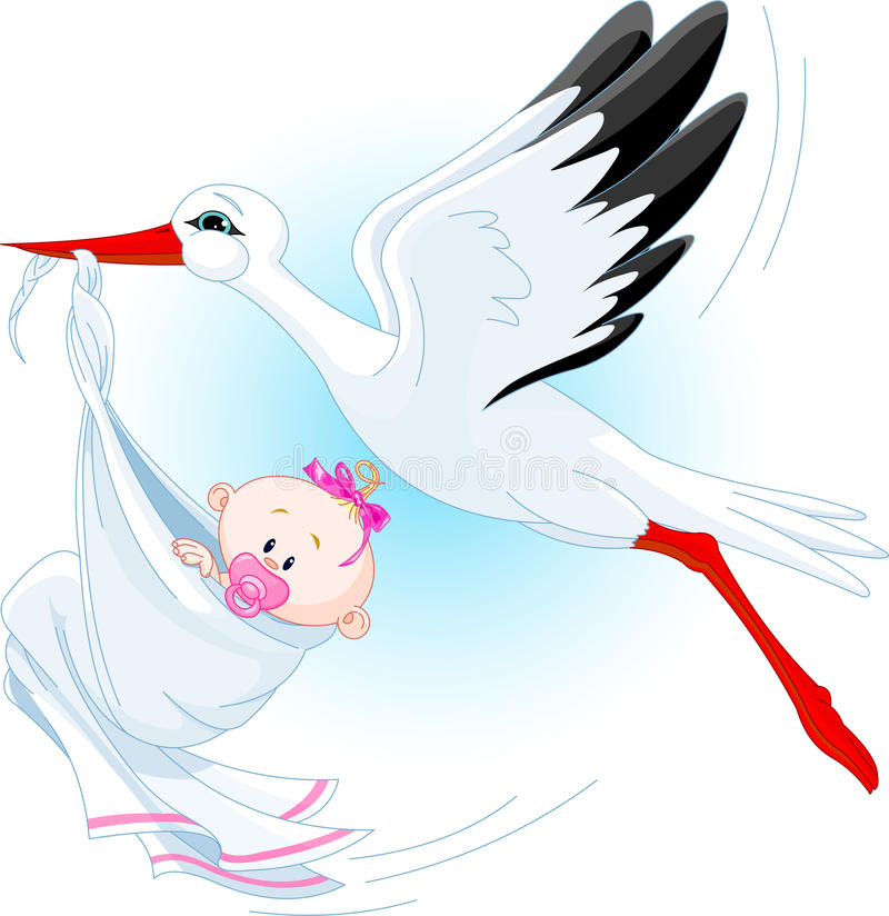 Stork And Baby royalty free illustration