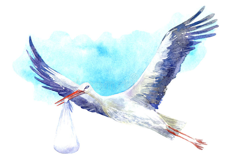 Stork with baby on the background of blue sky. stock illustration
