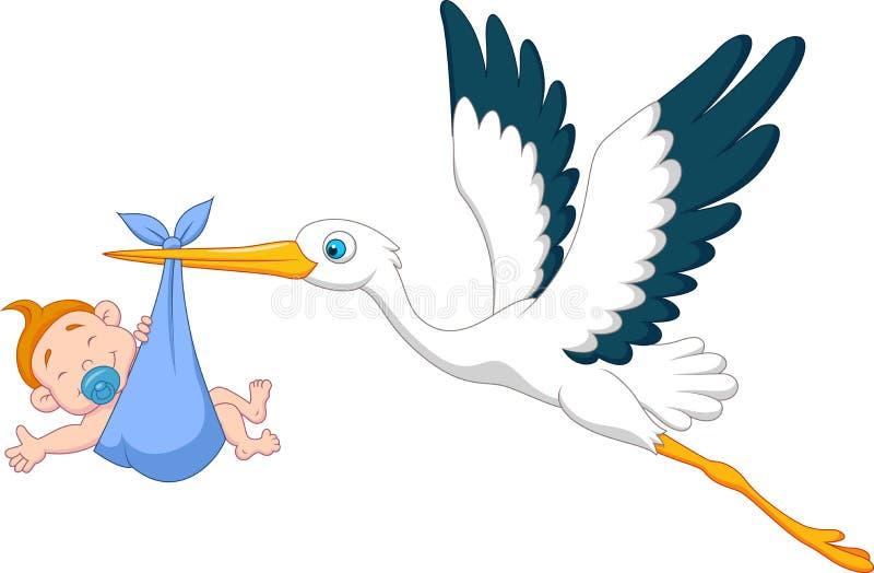 Stork with baby boy cartoon vector illustration
