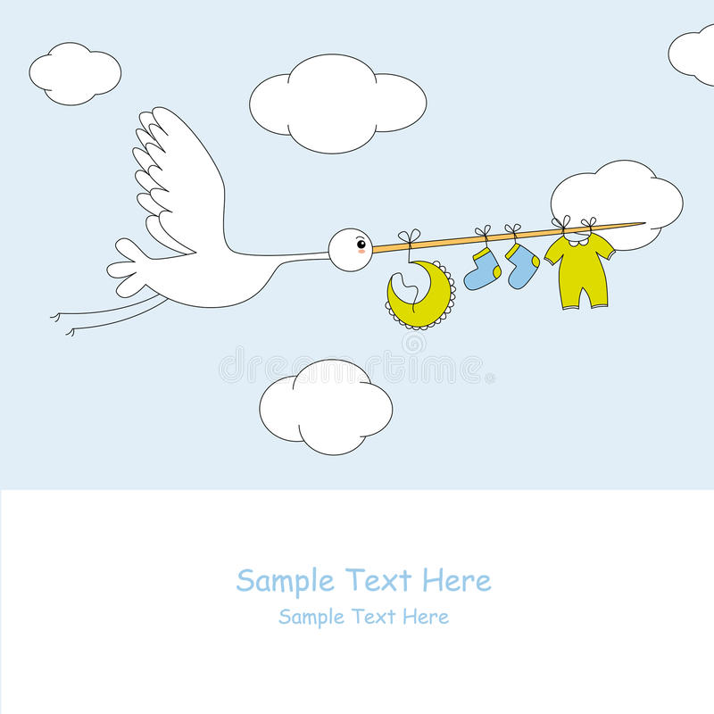 Download Stork With Baby Boy Clothes Royalty Free Stock Image - Image: 19609326