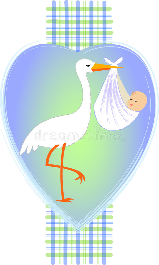 Stork with Baby Boy/eps vector illustration