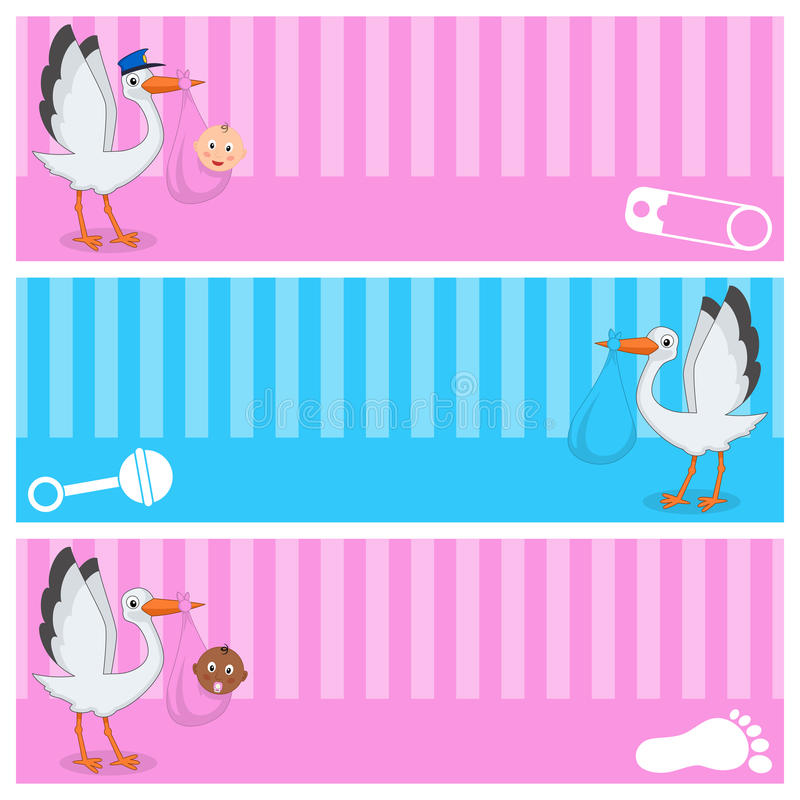 Stork with Baby Boy & Girl Banners Set vector illustration