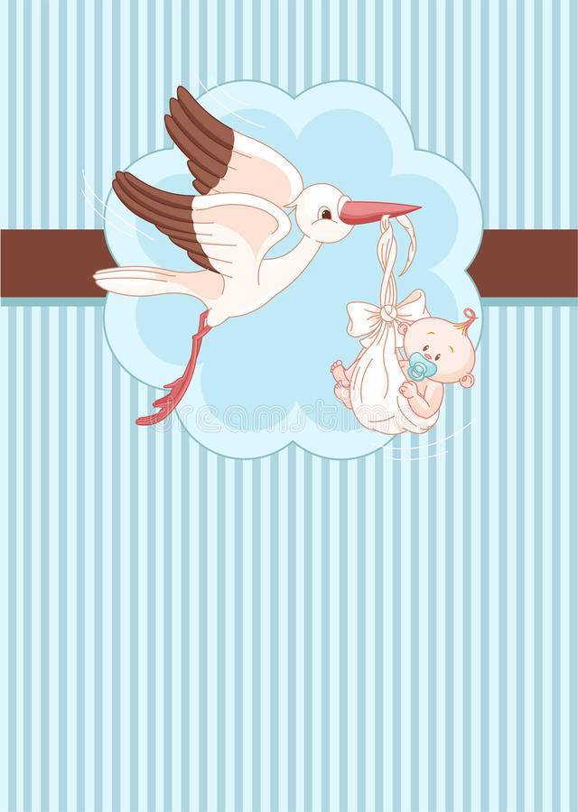 Stork and Baby boy place card stock illustration