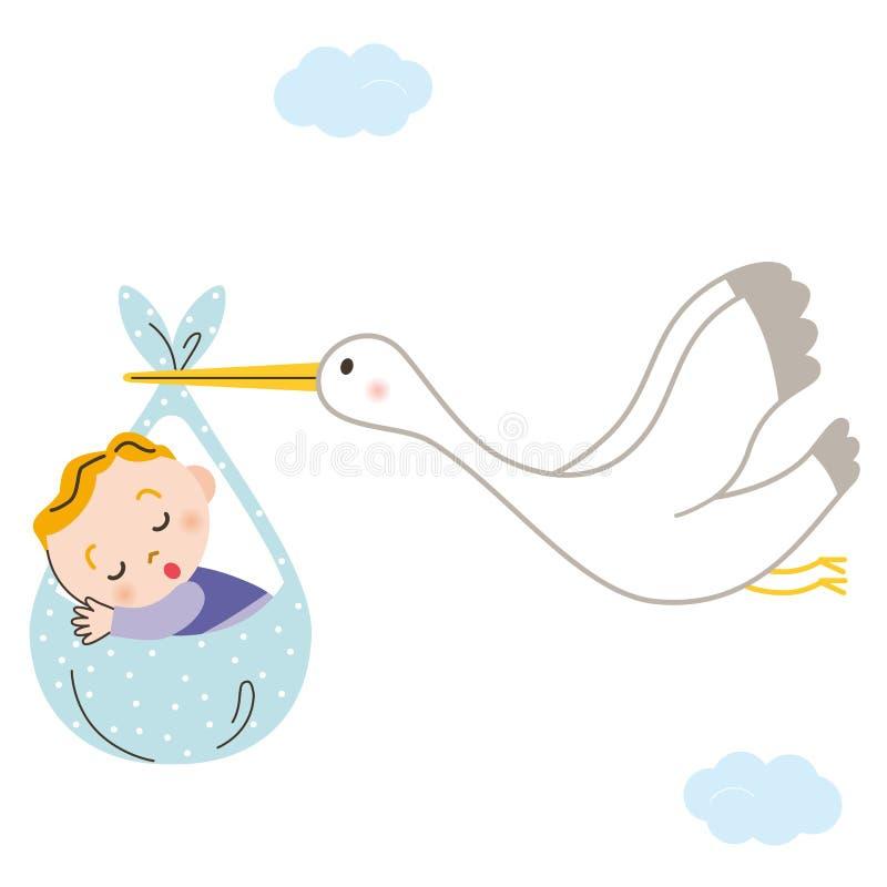 Stork baby vector illustration
