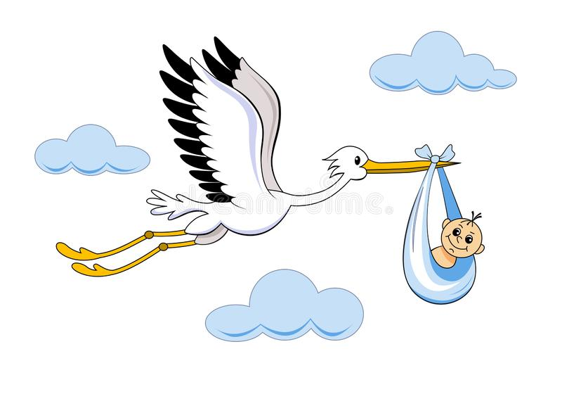 Stork With Baby Cartoon Vector Stock Vector Illustration Of Adoption Infant 159380772