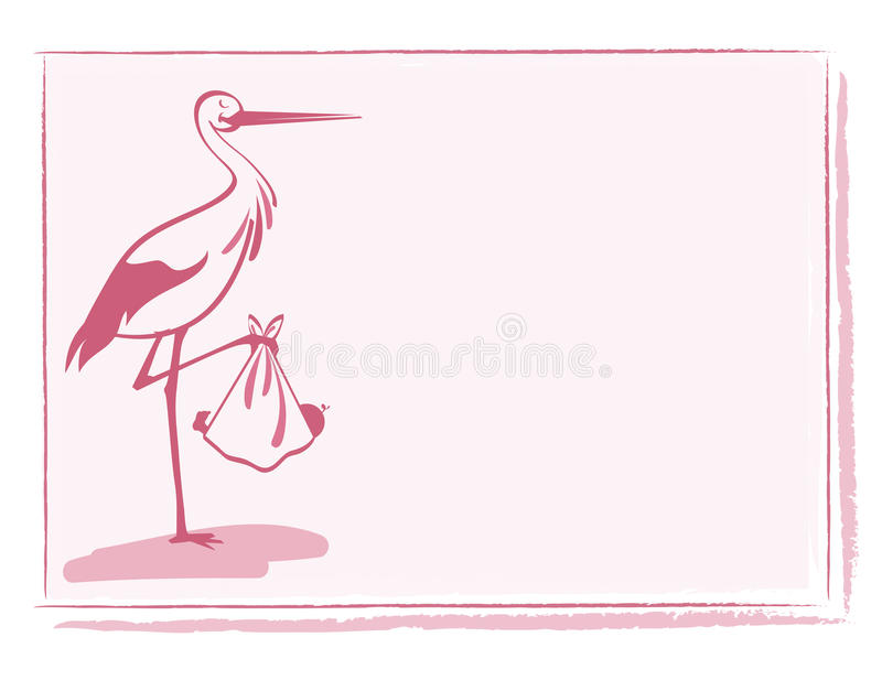 Stork with baby girl card vector stock illustration
