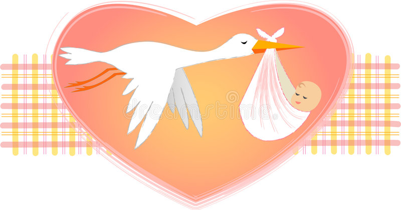 Stork with Baby Girl/eps. Illustration of a stork delivering a bundled newborn baby girl