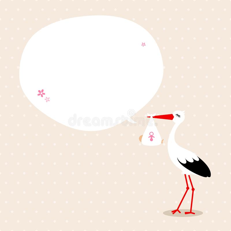 Stork With Baby Girl Speechbubble Beige Background Dots stock illustration