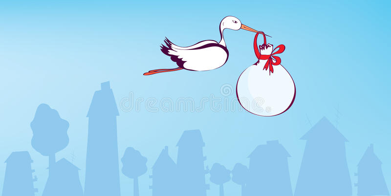 Download Stork And Baby Greeting  Card Stock Vector - Illustration: 25625689