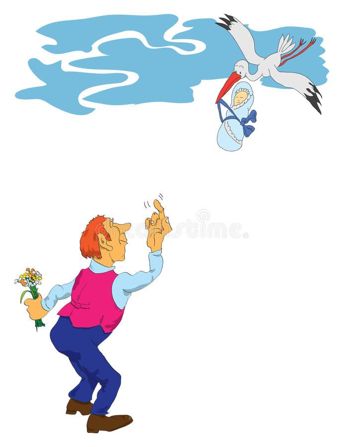 Download Stork With A Baby And A Man Stock Vector - Illustration: 22001439