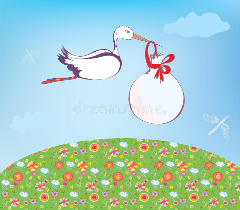 Download Stork and baby  outdoor stock vector. Image of floral - 25844558