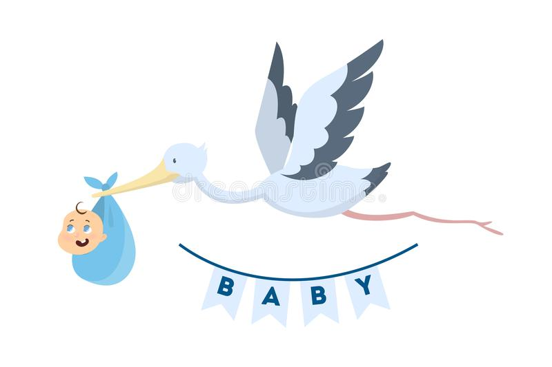 Stork with baby. stock illustration