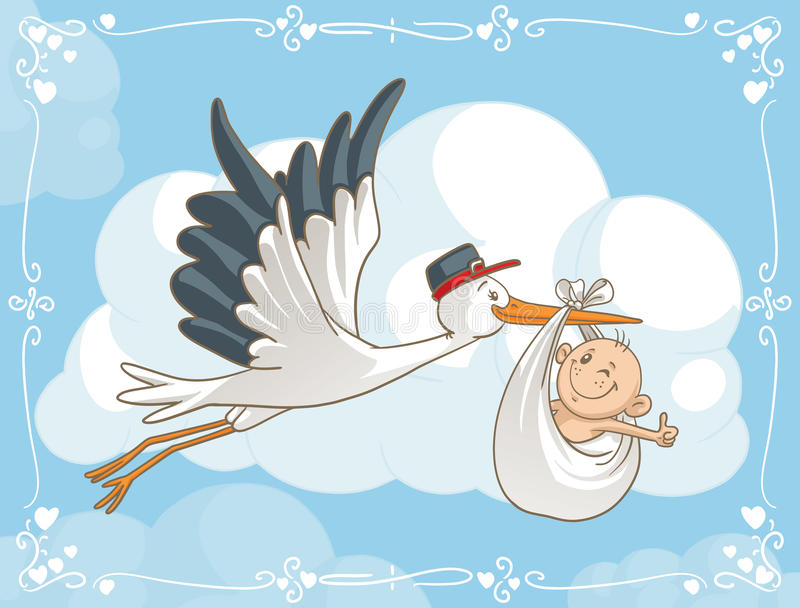Stork with Baby Vector Cartoon stock illustration