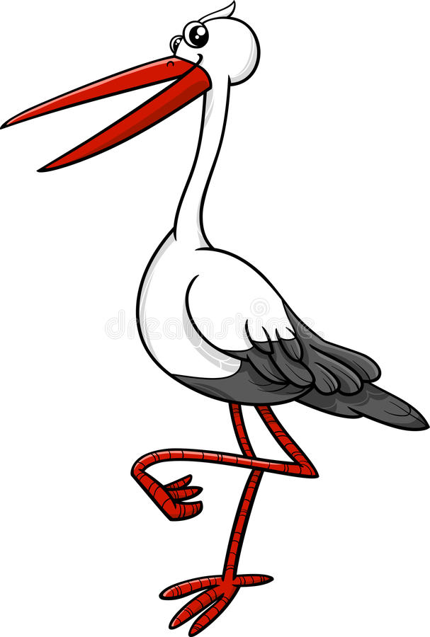 Stork bird animal character vector illustration