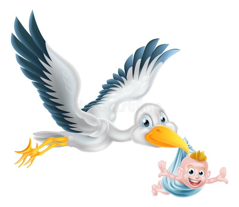 Stork bird flying holding newborn baby stock illustration