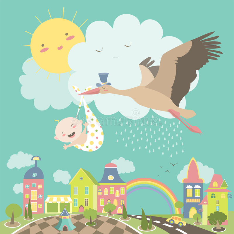 Free Stork Bird With Baby Royalty Free Stock Photography - 69727617