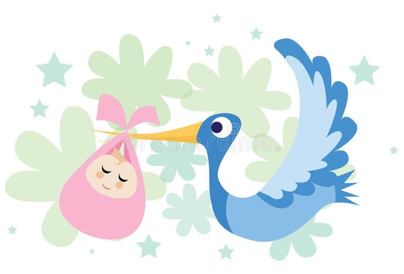 The Stork Brought A Baby Girl! vector illustration