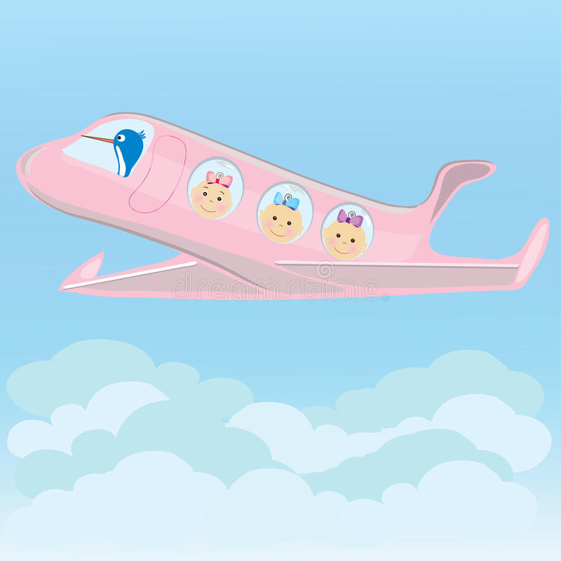 Download Stork Carries On A Plane Triplets Baby Girls Royalty Free Stock Images - Image: 24912639