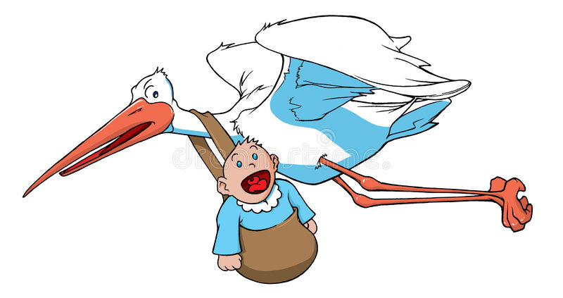 Stork carrying a baby stock illustration