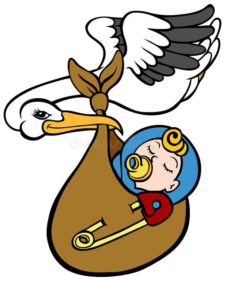 Stork Delivering Baby. An image of a stork delivering a baby royalty free illustration
