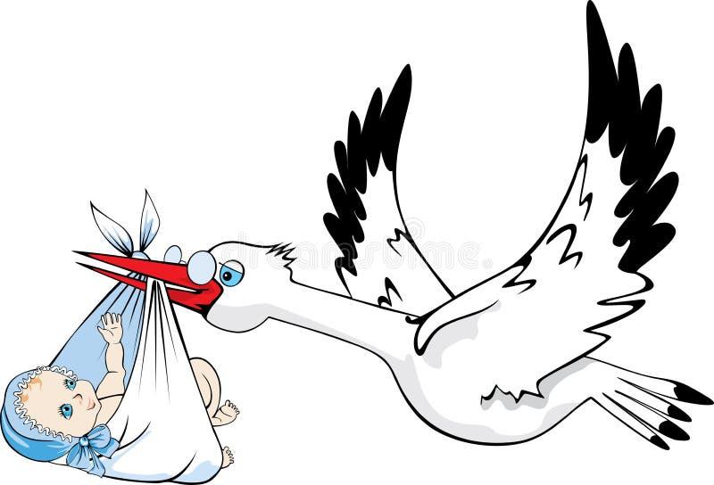Stork delivering baby. Vector illustration of stork delivering newborn baby royalty free illustration