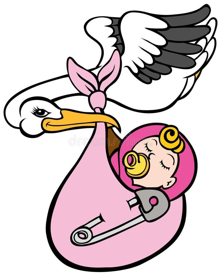 Stork Delivering Baby Girl. An image of a stork delivering a baby girl stock illustration