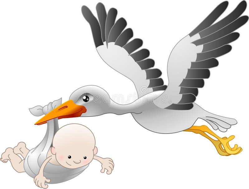 Stork delivering a newborn baby. Illustration of a flying stork delivering a newborn baby vector illustration