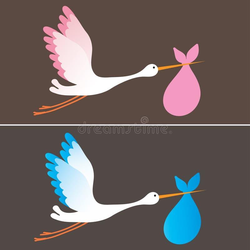 Stork delivering a newborn baby girl and boy vector illustration
