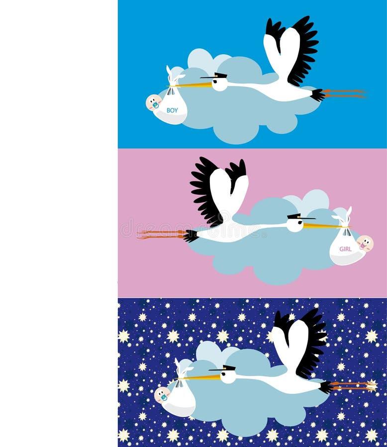 Stork delivering. A newborn boy and girl stock illustration
