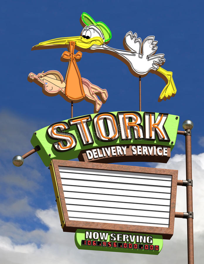 Stork Delivery Service Royalty Free Stock Photography