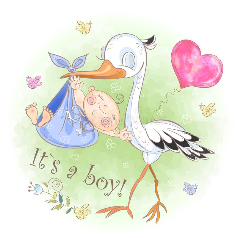 Stork flies with baby boy. Baby shower. Postcard for the birth of a baby. Vector. Watercolor. Stork flies with baby boy. Baby shower. Postcard for the birth of vector illustration