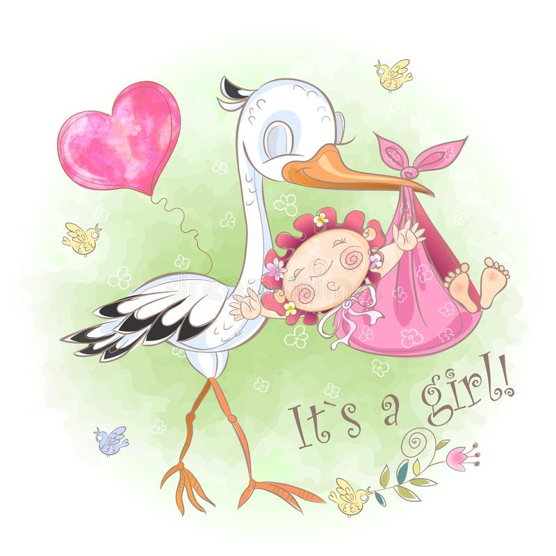 Stork flies with baby girl. Baby shower. Postcard for the birth of a baby. Vector. Watercolor. Stork flies with baby girl. Baby shower. Postcard for the birth stock illustration