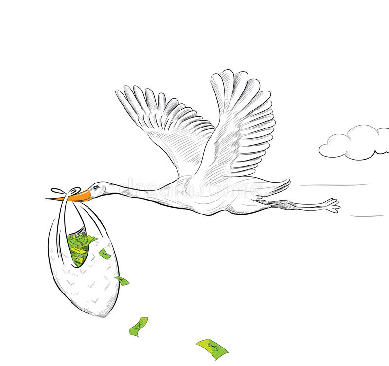 Download Stork Flying With Money stock vector. Image of earn, bank - 38259333