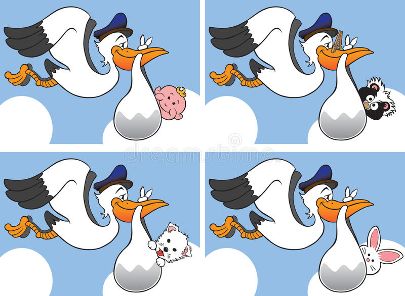 Download Stork With Four Different Babies Stock Vector - Image: 28754647